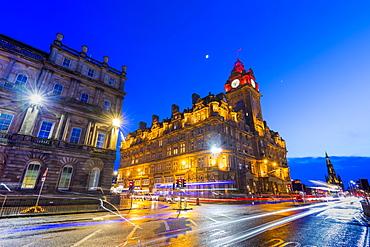 The Balmoral Hotel at dusk, Princes Street, Edinburgh, Lothian, Scotland, United Kingdom, Europe
