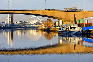 Kingston and Clyde Arc Bridges, River Clyde, Glasgow, Scotland, United Kingdom, Europe