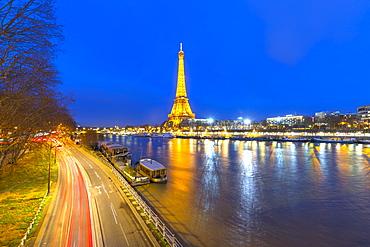 Eiffel Tower, traffic light trails, River Seine, Paris, France, Europe