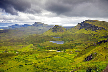Storm clouds over The Quiraing, Isle of Skye, Inner Hebrides, Highlands and Islands, Scotland, United Kingdom, Europe