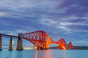 Forth Railway bridge at dusk, River Forth, Edinburgh, Scotland, United Kingdom, Europe