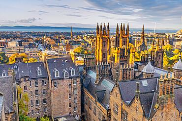 Skyline view of Edinburgh from Camera Obscura, Old Town, Edinburgh, Scotland, United Kingdom, Europe