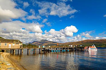 Tour boat and pier, Luss, Loch Lomond, Scotland, United Kingdom, Europe