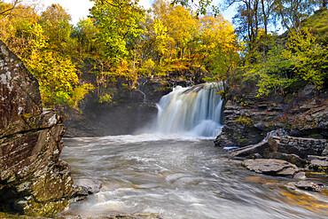 Waterfall, Falls of Falloch, River Falloch, Glen Falloch, Stirlingshire, Scotland, United Kingdom, Europe