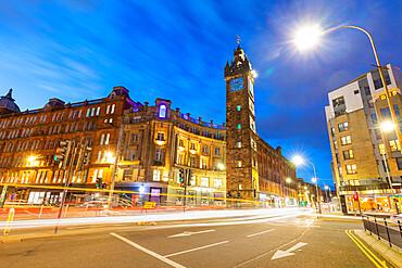 Tolbooth Steeple, at dusk, Glasgow Cross, Gallowgate, Glasgow, Scotland, United Kingdom, Europe