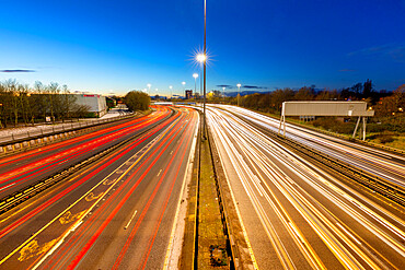 M8 motorway trail lights, Glasgow, Scotland, United Kingdom, Europe