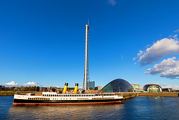 T.S. Queen Mary, Glasgow Tower and Science Centre, River Clyde, Glasgow, Scotland, United Kingdom, Europe