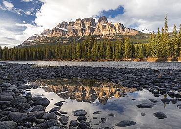 Castle Mountain and Bow River sunset and reflection, Banff National Park, UNESCO World Heritage Site, Alberta, Canadian Rockies, Canada, North America