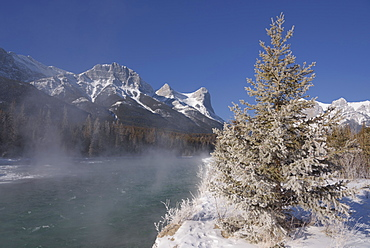 Winter along the Bow River with Ha Ling Peak, Canmore, Alberta, Canadian Rockies, Canada, North America