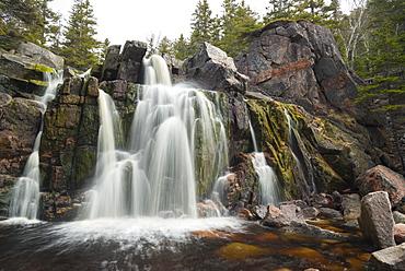 Black Brook Cove Beach Waterfall, Cape Breton Island, Nova Scotia, Canada, North America