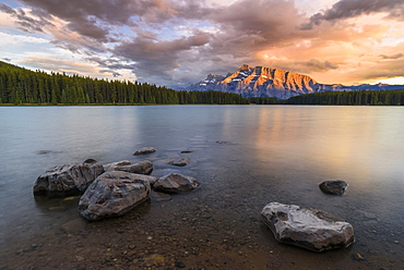Sunset over Mount Rundle at Two Jack Lake, Banff National Park, UNESCO World Heritage Site, Alberta, Canada, North America