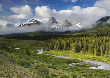 River flowing through the mountains with Mount Engadine and the Tower, Spray Valley Provincial Park, Alberta, Canada, North America