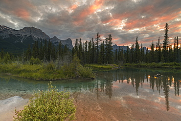 Sunset over Ha Ling Peak and Mount Rundle at Policeman's Creek, Canmore, Alberta, Canada, North America