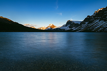 Calm sunset at Bow Lake, Banff National Park, UNESCO World Heritage Site, Alberta, Canadian Rockies, Canada, North America