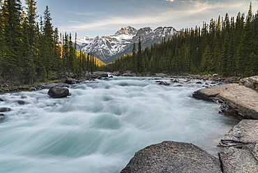 Mistaya Canyon waterfalls at sunset with evening light and Mount Sarbach, Banff National Park, UNESCO World Heritage Site, Alberta, Canadian Rockies, Canada, North America