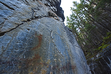 Ancient Indigenous pictographs on a canyon wall, Grotto Canyon, Alberta, Canada, North America
