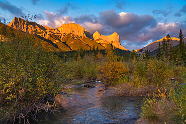 Sunrise and Alpenglow on Mount Lawrence Grassi and Ha Ling Peak in Autumn, Canmore, Alberta, Canadian Rockies