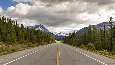 Icefields Parkway leading toward the Canadian Rocky Mountains, Jasper National Park, UNESCO World Heritage Site, Canadian Rockies, Alberta, Canada, North America