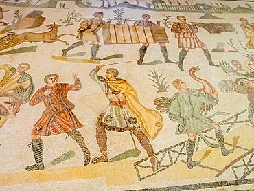 Section of floor mosaic, Villa Romana del Casale, Piazza Armerina, UNESCO World Heritage Site, Sicily, Italy, Europe