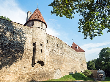 Towers of the town wall, from outside, Tallinn, Estonia, Baltics, Europe