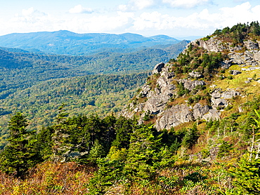 View from the peak of Grandfather Mountain, Blue Ridge Mountains, Appalachia, North Carolina, United States of America, North America