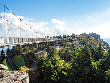 Footbridge at the peak of Grandfather Mountain, Blue Ridge Mountains, Appalachia, North Carolina, United States of America, North America