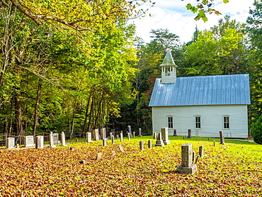 Old church, Cades Cove, Great Smoky Mountains National Park, Tennessee, United States of America, North America