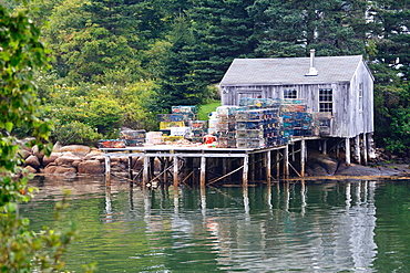 Boathouse and lobster traps, Maine, New England, United States of America, North America