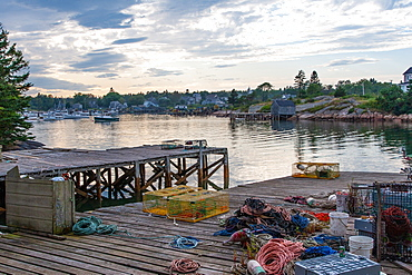 Lobster traps on a dock, Maine, New England, United States of America, North America