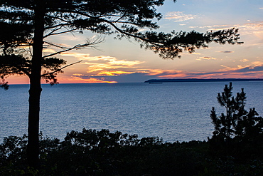 Sunset and South Manatou Island, Sleeping Bear Dunes National Park, Glen Arbor, Michigan, United States of America, North America