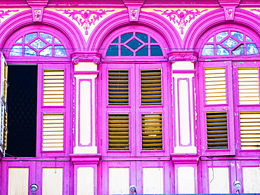 Brightly painted windows, Georgetown, Penang, Malaysia, Southeast Asia, Asia