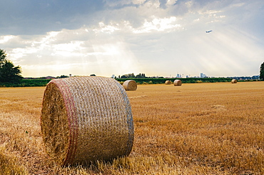 Bundles of hay, with dramatic rays of light, on the outskirts of Milan, Lombardy, Italy, Europe