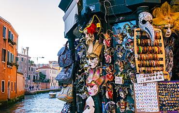 Typical Venetian masks for sale in Venice, Veneto, Italy, Europe
