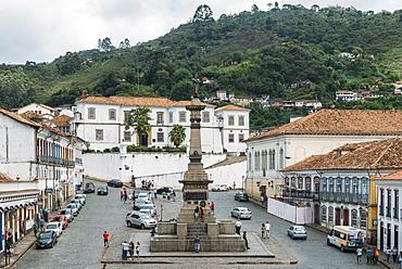 Tiradentes Square where the martyr Joaquim Jose da Silva Xavier was hanged in Ouro Preto, UNESCO World Heritage Site, Minas Gerais, Brazil, South America