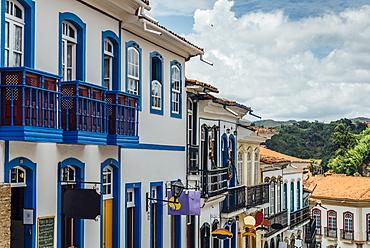Colorful colonial buildings and narrow cobblestone streets of Ouro Preto, UNESCO World Heritage Site, Brazil, South America