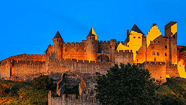 Medieval citadel, Carcassonne, a hilltop town in southern France, UNESCO World Heritage Site, Carcassonne, Languedoc, France, Europe