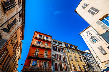 Wide angle view of traditional Provencal architecture in Antibes, Cote d'Azur, Provence, France, Europe