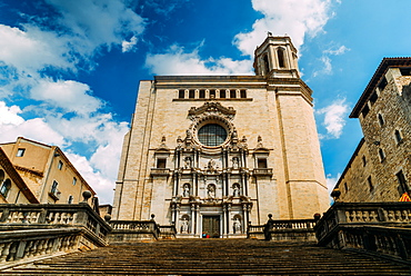 The Girona Cathedral (Cathedral of St. Mary of Girona), a Roman Catholic church, Girona, Catalonia, Spain, Europe