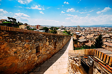 Venerable 9th century city walls with walkways, towers and scenic vantage points of Girona, Catalonia, Spain, Europe