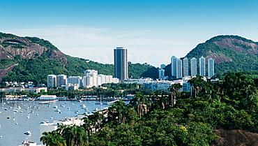 Botafogo Bay surrounded by tropical vegetation, Rio de Janeiro, Brazil, South America - 1243-362