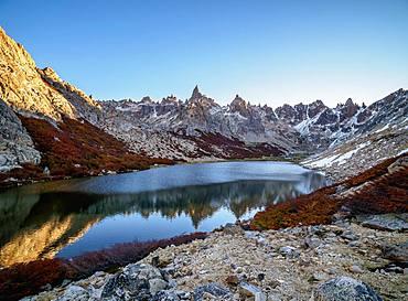 Toncek Lagoon and Cerro Catedral at sunset, Nahuel Huapi National Park, Rio Negro Province, Argentina, South America