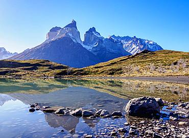 Cuernos del Paine reflecting in Nordenskjold Lake, Torres del Paine National Park, Patagonia, Chile, South America