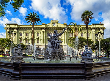 Neptune Fountain and Maldonado National College, Sucre Park, Riobamba, Chimborazo Province, Ecuador, South America