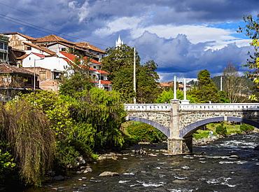 Mariano Moreno Bridge and Tomebamba River, Cuenca, Azuay Province, Ecuador, South America