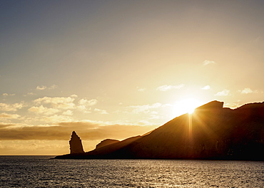 Pinnacle Rock on Bartolome Island at sunrise, Galapagos, UNESCO World Heritage Site, Ecuador, South America