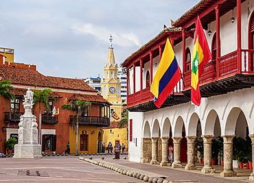 Town Hall, Plaza de la Aduana, Old Town, Cartagena, Bolivar Department, Colombia, South America