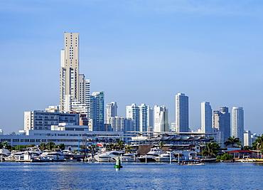 View over Bahia de las Animas towards Bocagrande, Cartagena, Bolivar Department, Colombia, South America