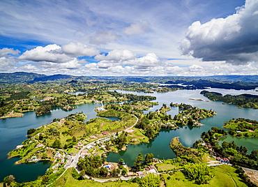 Embalse del Penol, elevated view from El Penon de Guatape (Rock of Guatape), Antioquia Department, Colombia, South America