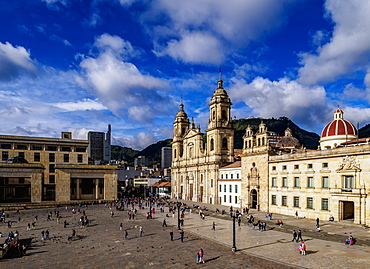 Cathedral of Colombia and Tabernacle Chapel, elevated view, Bolivar Square, Bogota, Capital District, Colombia, South America