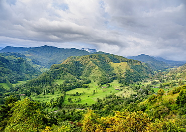 Landscape of Quindio River Valley at sunset, Salento, Quindio Department, Colombia, South America